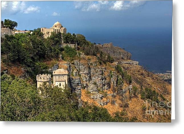 Erice Greeting Cards - Erice Sicily Italy Greeting Card by Anik Messier