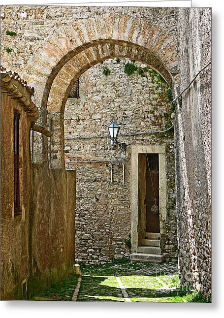 Erice Greeting Cards - Erice Sicily Street Greeting Card by Jeanne  Woods