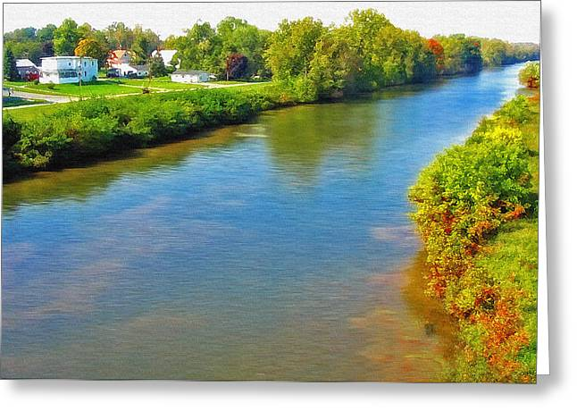 New York State; American Landscape; Rural; Countryside; New England; Church; Woodland; Trees; Hudson River School Greeting Cards - Erie Canal - New York Greeting Card by Steve Ohlsen