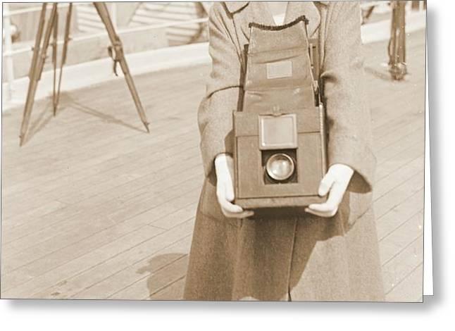 Erika Morini Holding Large Box Camera Greeting Card by Padre Art