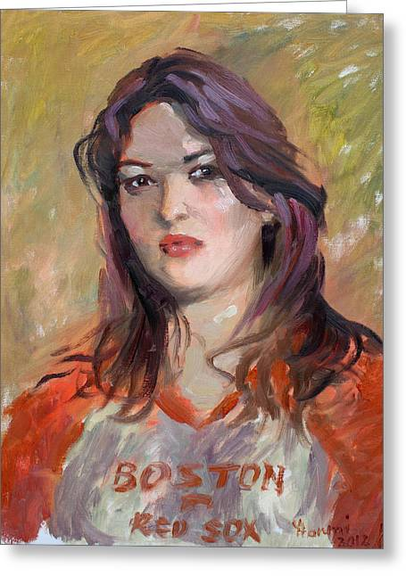 Red Sox Paintings Greeting Cards - Eriola Greeting Card by Ylli Haruni