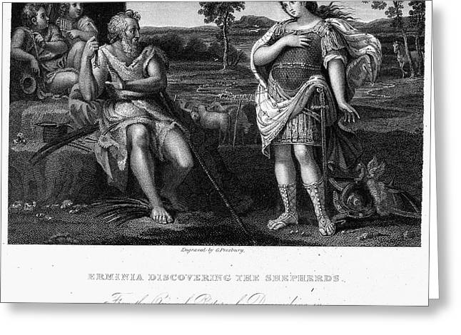 Pan Pipes Greeting Cards - Erminia And Shepherds Greeting Card by Granger