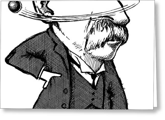 Ernest Rutherford, Caricature Greeting Card by Gary Brown