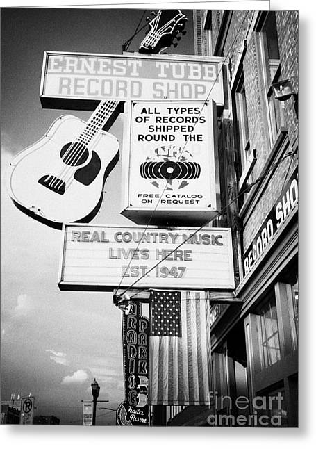 Nashville Tennessee Greeting Cards - ernest tubbs record shop on broadway downtown Nashville Tennessee USA Greeting Card by Joe Fox