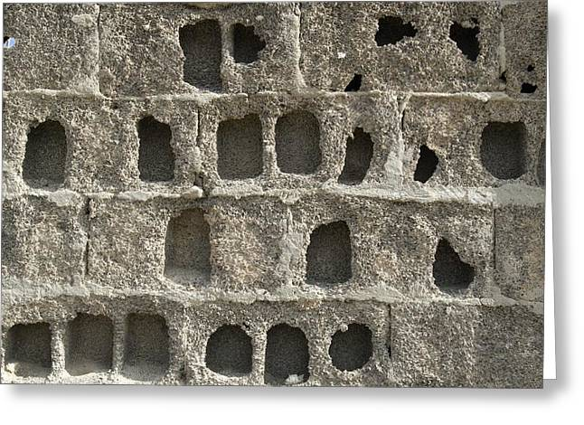 Pucker Greeting Cards - Eroded Block Wall Greeting Card by Steve Horrell