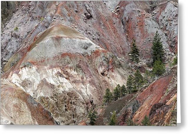 River Flooding Greeting Cards - Eroded Glacial Landscape, British Columbi Greeting Card by Kaj R. Svensson