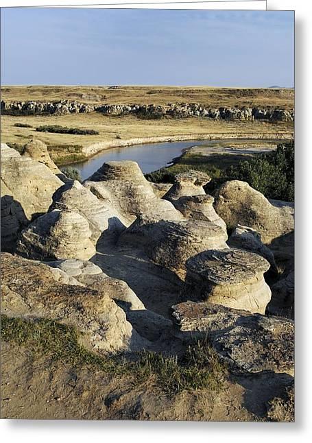 Eroded Sandstone Hoodoos, Alberta Greeting Card by Kaj R. Svensson