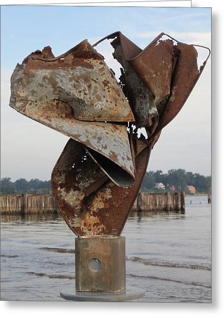 Recycled Sculptures Sculptures Greeting Cards - Eros Greeting Card by Richard Heffron