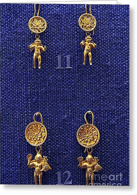 Gold Earrings Photographs Greeting Cards - Erotes earrings Greeting Card by Andonis Katanos