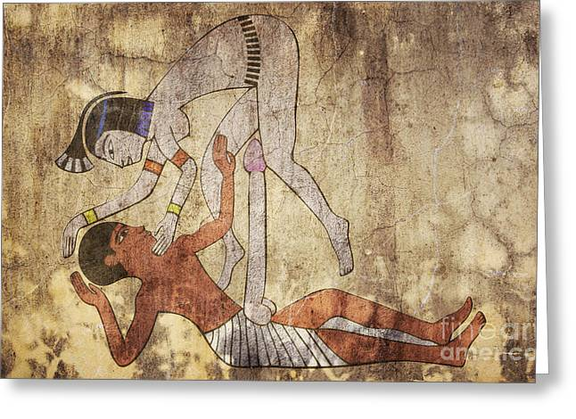 erotic drawing looks like fresco Greeting Card by Michal Boubin
