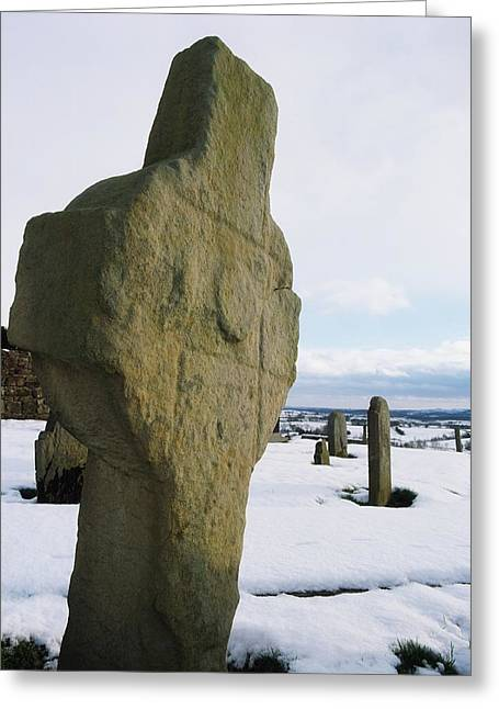 Snow Covered Ground Greeting Cards - Errigal Keerouge Cross, St Kierans Greeting Card by The Irish Image Collection