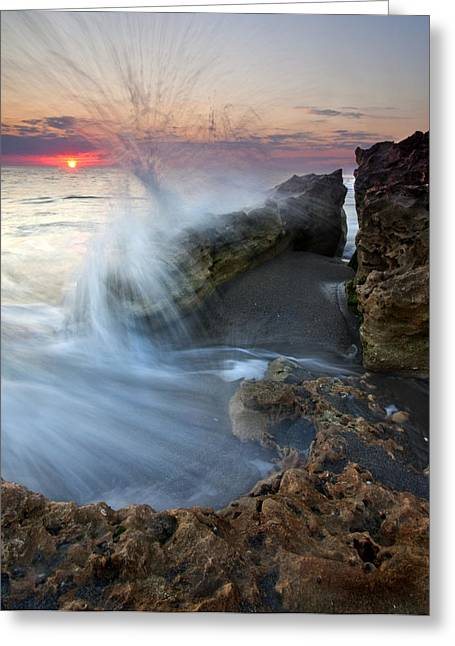 Blowing Greeting Cards - Eruption at Dawn Greeting Card by Mike  Dawson