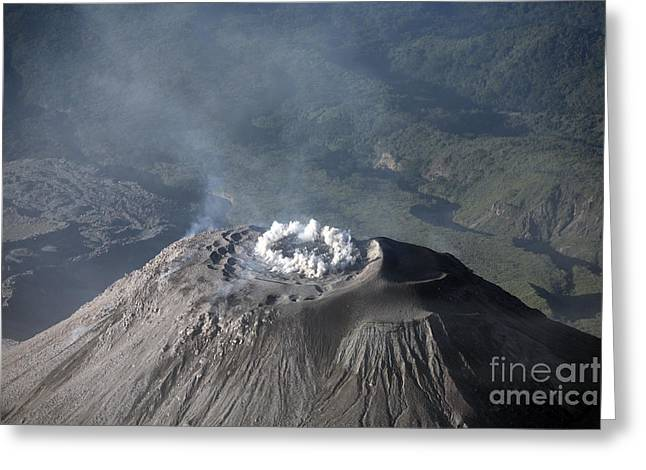 Land Feature Greeting Cards - Eruption At Summit Of Santiaguito Dome Greeting Card by Richard Roscoe
