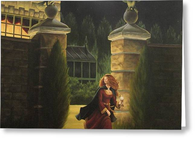 Escape from Raven Manor Greeting Card by Karen Coombes
