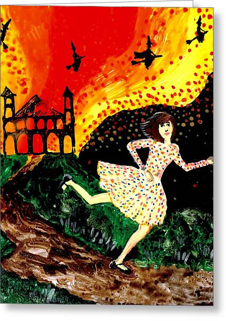 Fired Ceramics Greeting Cards - Escape from the burning house Greeting Card by Sushila Burgess