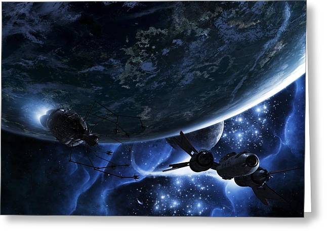 Stellar Prints Greeting Cards - Escape Velocity Greeting Card by Brian Christensen