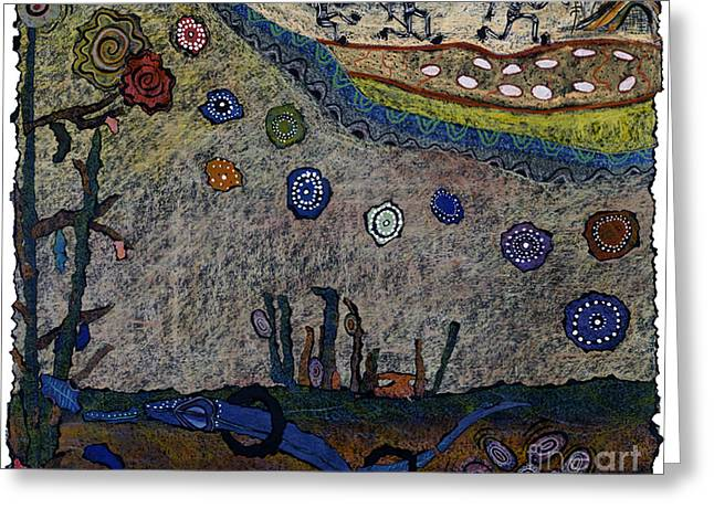 Aboriginal Mixed Media Greeting Cards - Escaping Death Greeting Card by Pat Saunders-White