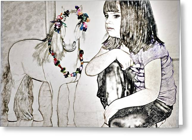 Girl And Animals Greeting Cards - Escaping the Mundane Greeting Card by Gwyn Newcombe