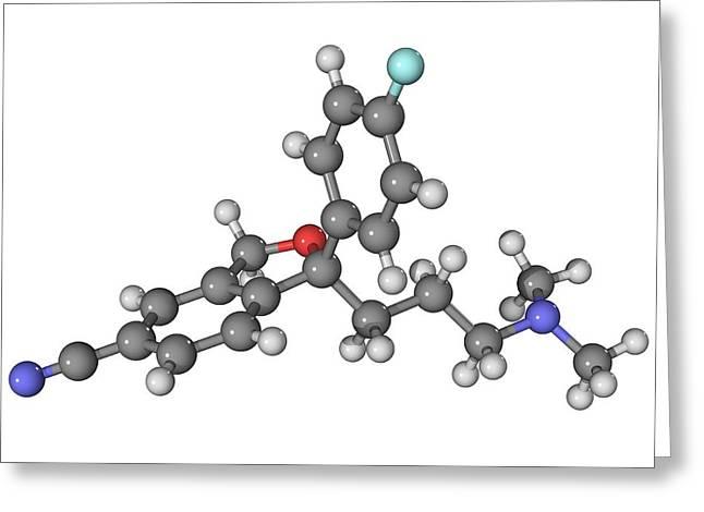 Ssri Greeting Cards - Escitalopram Antidepressant Drug Molecule Greeting Card by Laguna Design