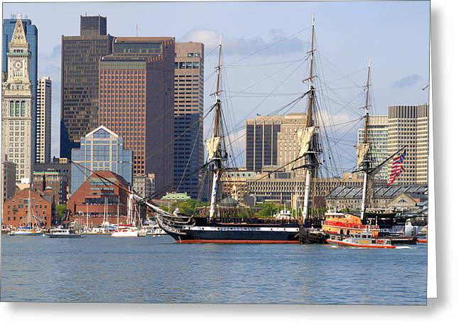 Masts Greeting Cards - Escorting Old Ironsides Greeting Card by Caroline Stella
