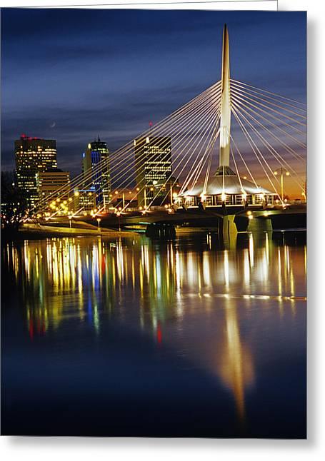 Esplanade Riel Footbridge On Red River Greeting Card by Mike Grandmailson
