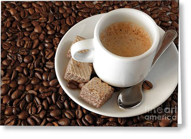 Teaspoon Greeting Cards - Espresso Coffee Greeting Card by Carlos Caetano