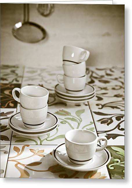 Cup Photographs Greeting Cards - Espresso Cups Greeting Card by Joana Kruse