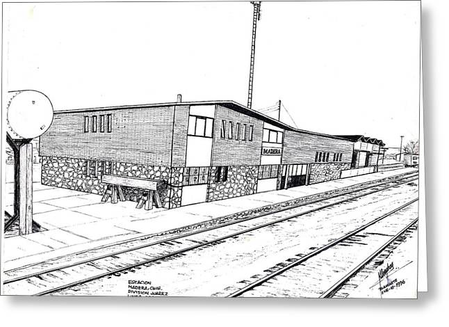 Divisions Drawings Greeting Cards - Estacion Madera Chih.Mex Greeting Card by Cleofas Orozco Blancarte