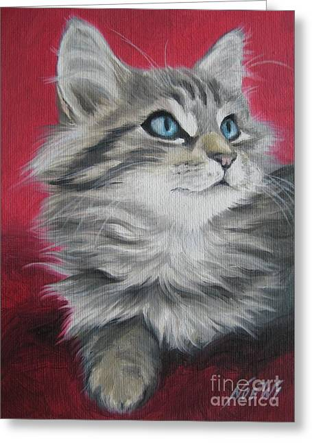 Cute Kitten Paintings Greeting Cards - Estrella Greeting Card by Jindra Noewi