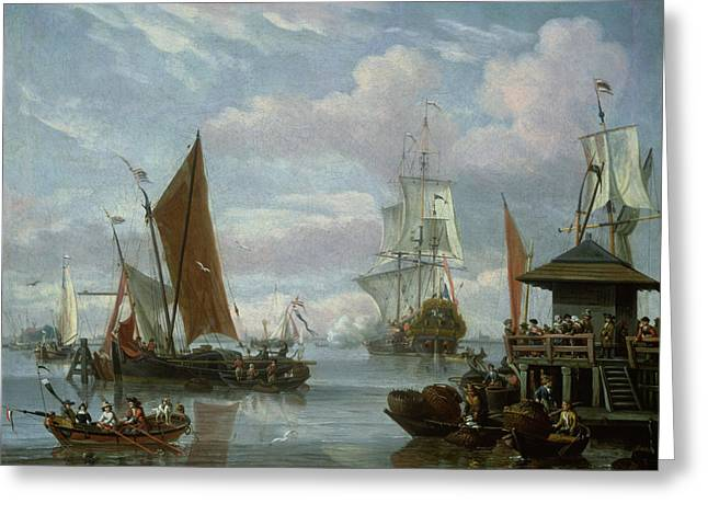 Trawler Greeting Cards - Estuary Scene with Boats and Fisherman Greeting Card by Johannes de Blaauw