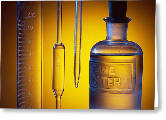 Etched Laboratory Glassware Greeting Card by Andrew Lambert Photography