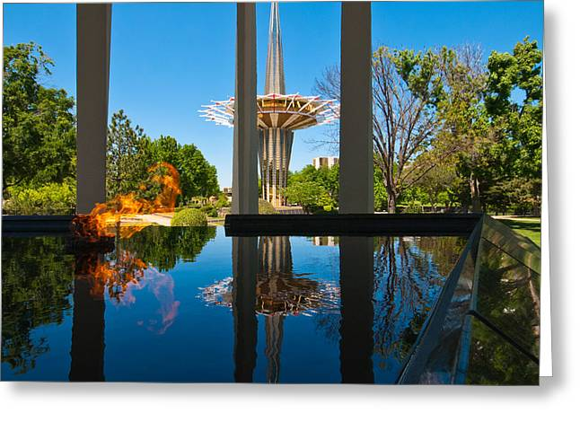 Eternal Flame Greeting Cards - Eternal Flame Fountain Greeting Card by David Waldo