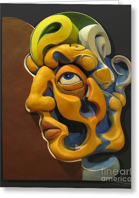 Face Reliefs Greeting Cards - Eternal Thoughts Of A Mortal Mind Greeting Card by James Day