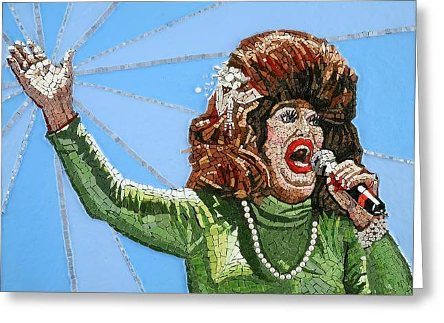 Mosaic Portraits Mixed Media Greeting Cards - Ethel Merman Experience Greeting Card by Michael Kruzich