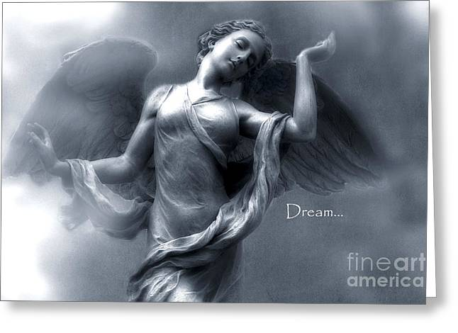 Angel Blues Greeting Cards - Ethereal Dreamy Surreal Heavenly Angel Wings Greeting Card by Kathy Fornal