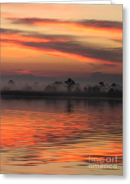 Orange Sky Greeting Cards - Ethereal Sunrise Greeting Card by Judee Stalmack
