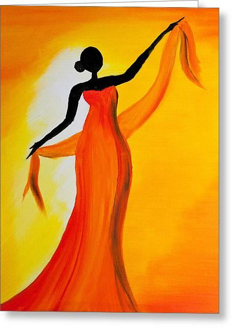 Titanium White Greeting Cards - Ethnic Dancer - 1 Greeting Card by Radhika Devaraj