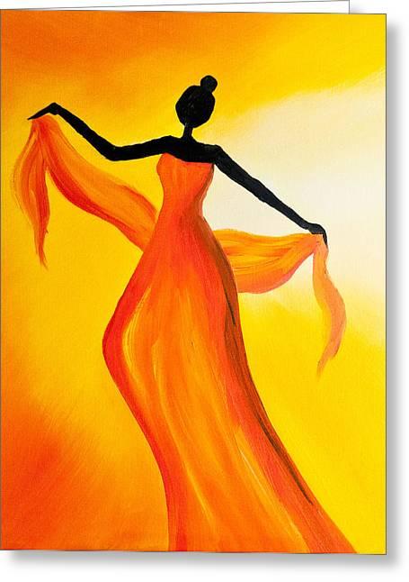 Titanium White Greeting Cards - Ethnic Dancer - 2 Greeting Card by Radhika Devaraj