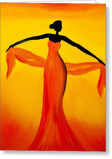 Titanium White Greeting Cards - Ethnic Dancer - 3 Greeting Card by Radhika Devaraj
