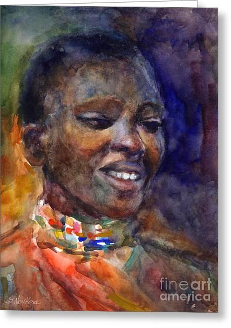 Africa Drawings Greeting Cards - Ethnic woman portrait Greeting Card by Svetlana Novikova