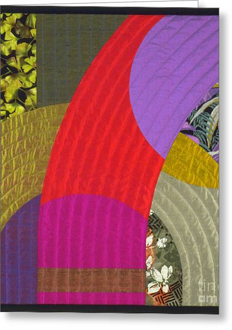 Geometric Tapestries - Textiles Greeting Cards - Etude 2 Greeting Card by Marilyn Henrion