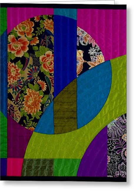 Geometric Tapestries - Textiles Greeting Cards - Etude 3 Greeting Card by Marilyn Henrion