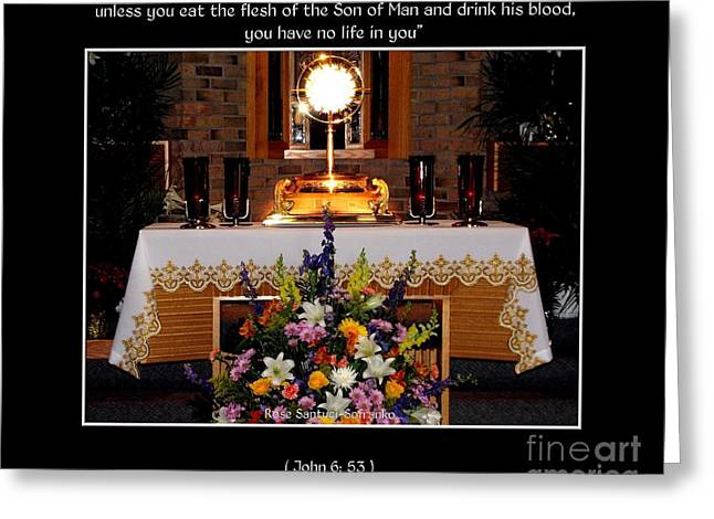 Holy Thursday Greeting Cards - Eucharist Unless you eat the flesh Greeting Card by Rose Santuci-Sofranko