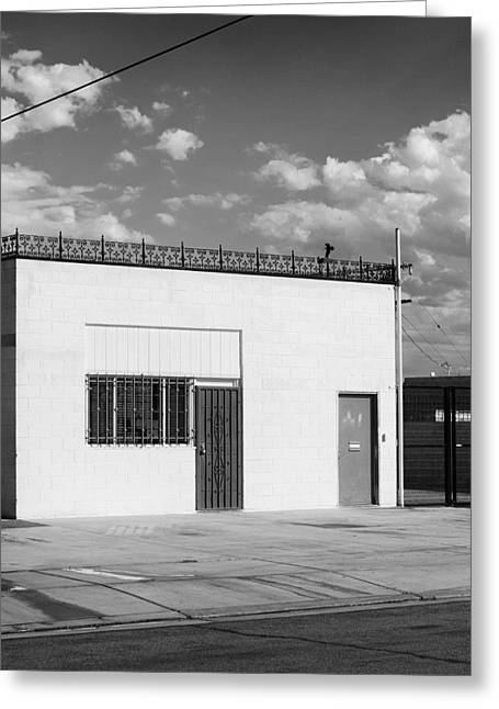 Screen Doors Greeting Cards - Eugene Building BW Greeting Card by William Dey