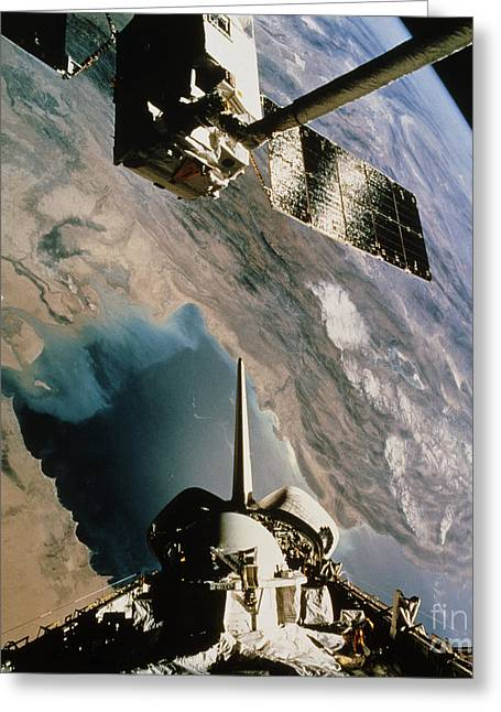 Atlantis Greeting Cards - Eureca Deployment, Sts-46, Persian Gulf Greeting Card by NASA / Science Source
