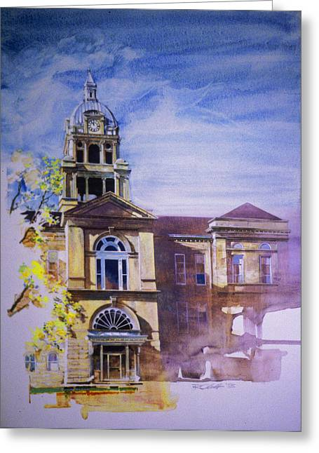 Eureka Paintings Greeting Cards - Eureka Courthouse Greeting Card by Rick Clubb