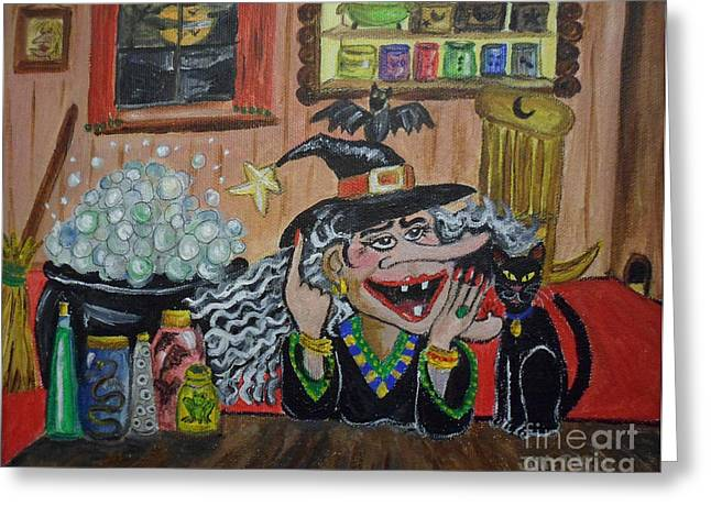 Witches Brew Greeting Cards - Eureka   Ive Got it Greeting Card by Julie Brugh Riffey