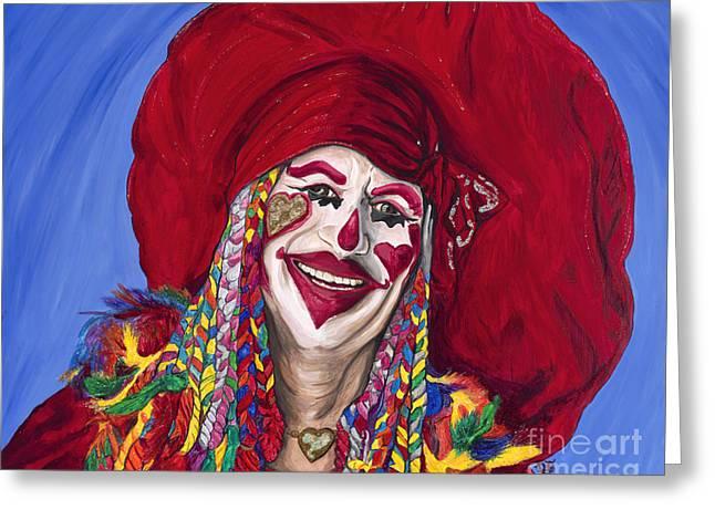 Eureka Springs Paintings Greeting Cards - Eureka Springs Clown Greeting Card by Patty Vicknair