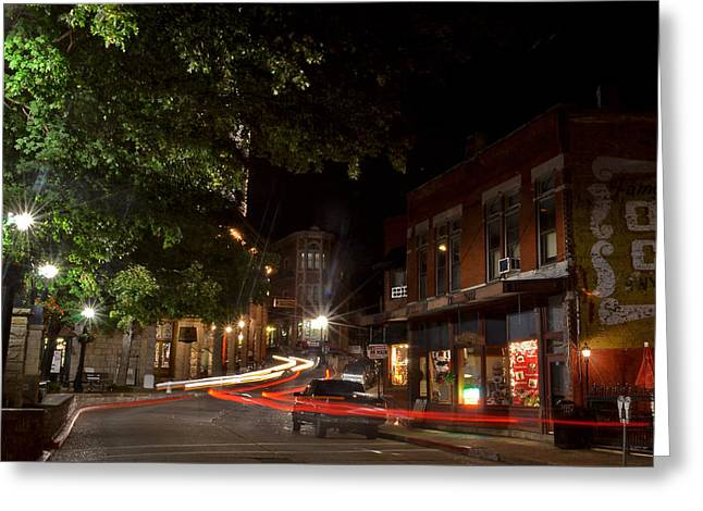 Jeka World Photography Greeting Cards - Eureka Springs Light Trails Greeting Card by Jeff Rose