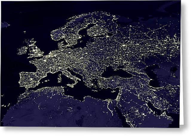 Urbanisation Greeting Cards - Europe At Night, Satellite Image Greeting Card by Nasa